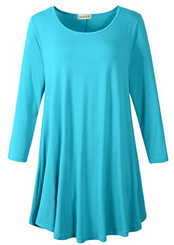 (LARACE Women 3/4 Sleeve Tunic Top Loose Fit Flare T-Shirt(M, Lake Blue) )