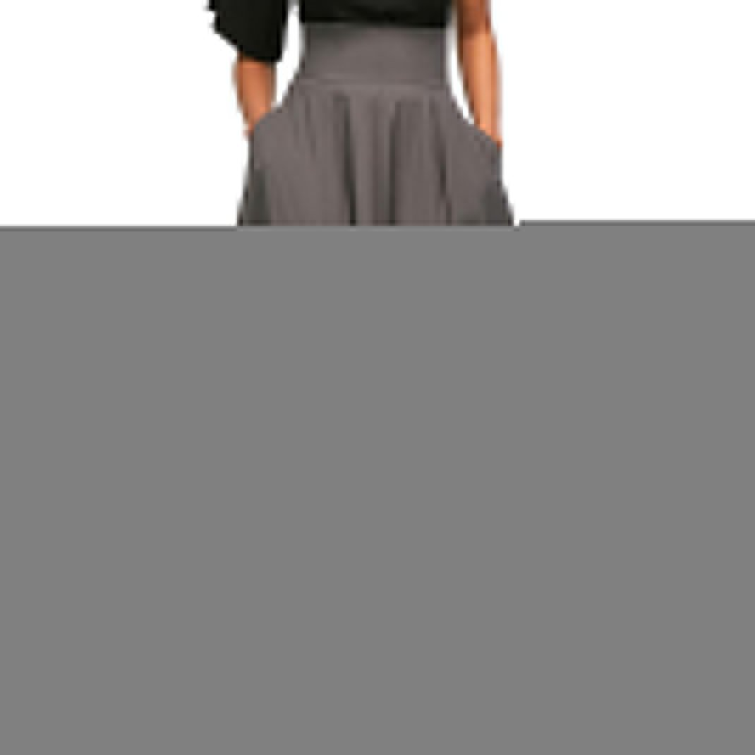 Women's High Waisted A-Line Pleated Long Skirt Midi Dress with Pockets Grey# L