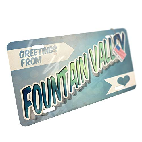 (NEONBLOND Greetings from Fountain Valley, Vintage Postcard Aluminum License Plate)