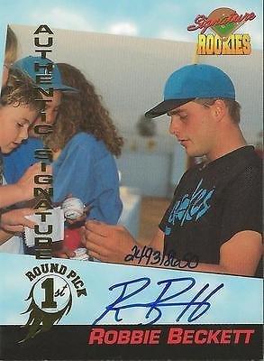 (Robbie Beckett 1994 Signature Rookies Certified Autograph Card RC /8650 #23)