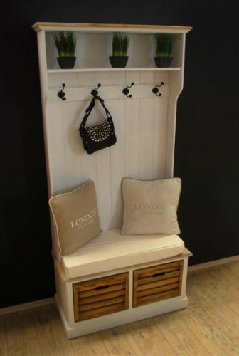 Garderobe mit Sitzbank antik Weiß Landhaus Truhenbank Truhe Kommode ...