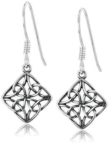Sterling Silver Oxidized Celtic Knot Diamond Shaped Drop Earrings