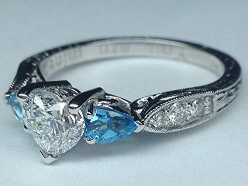(Forever One Heart Moissanite & Pear Shape Aquamarine Engagement Ring Hand Engraved Band Pave Diamonds March Birthstone)