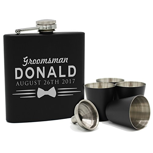 Set of 4, Set of 7 and more Custom Personalized Black Matte Flasks for Groomsmen Gifts - Uniform Style (8) by My Personal Memories (Image #1)