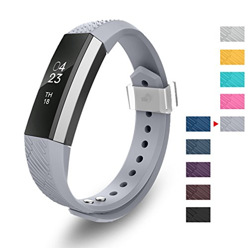 GreenInsync Compatible Fitbit Alta Bands,Replacement for Fitbit Alta Accessory Band Small for Fitbit Alta/Fitbit Alta HR/Fitbit Ace Wristbands with Metal Clasp and Ultrathin Fastener (Gray)