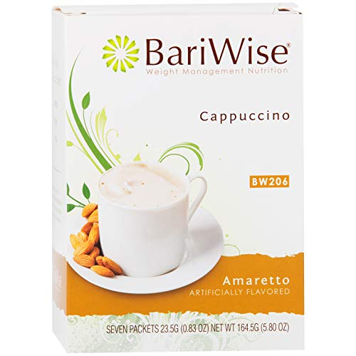 BariWise High Protein Hot Drink/Instant Low-Carb Cappuccino Mix (15g Protein) - Amaretto (7 Servings/Box) - Low Calorie, Low Carb, Low Fat, Gluten Free, Aspartame - Diet Bariwise Protein Bars