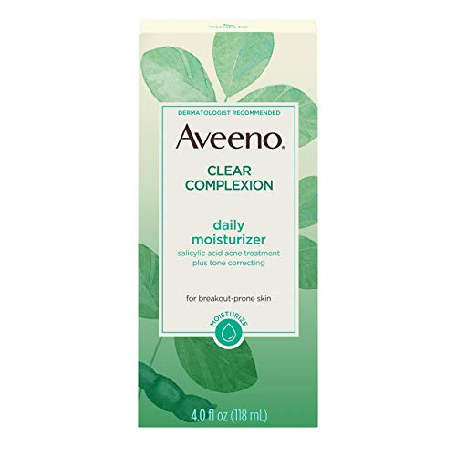 Aveeno Clear Complexion Salicylic Acid Acne-Fighting Daily Face Moisturizer with Total Soy Complex, For Breakout-Prone Skin, Oil-Free and Hypoallergenic, 4 fl. oz (Best Drugstore Toner For Acne Prone Skin)