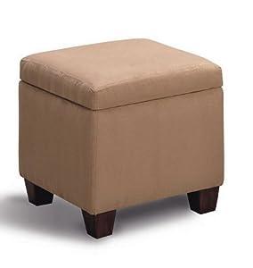 Amazon Com Microfiber Modern Cube Storage Footstool