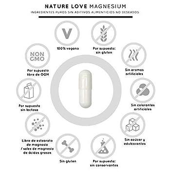 NATURE LOVE® Magnesio - 2250 mg citrato de magnesio, de ello 360 mg magnesio elemental por dosis diaria. 180 cápsulas. Controlado en el laboratorio.