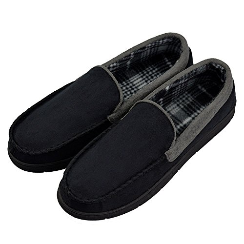 VLLY Men's Pile Lined Microsuede Bedroom Outdoor Slip On Moccasin Slippers US 11-12 Black (FBA) ()