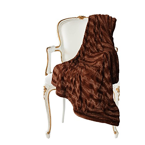 Swift Home Micro-Mink Full/Queen Faux Fur Blanket, Caramel