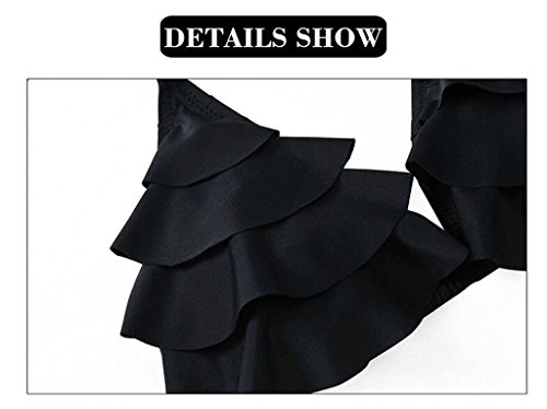 Moda de hoja de loto se reúnen Tipo de correa Triángulo Copa Bikini Negro