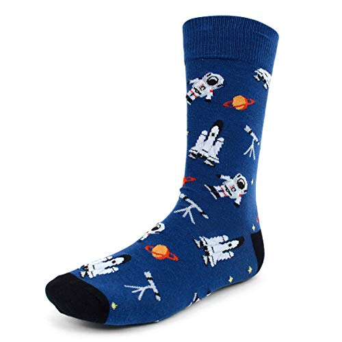 Urban-Peacock Men's Novelty Fun Crew Socks for Dress or Casual - Various Patterns Available! (Astronaut - Blue, 12 Pair)