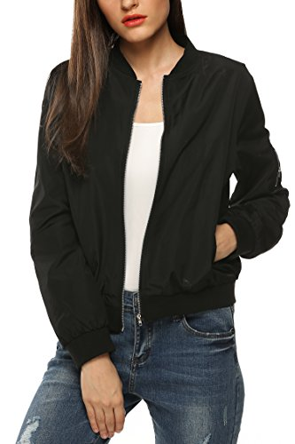 Zeagoo Womens Classic Quilted Jacket Short Bomber Jacket Coat, Black, -