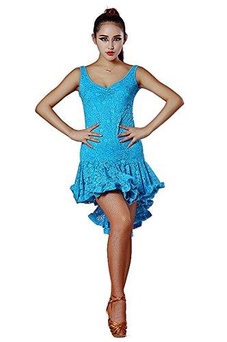 [SFD007 Latin Rhythm Salsa Swing Dance Costume Dress (US4(M), Sky_Blue)] (Hand Jive Costumes)