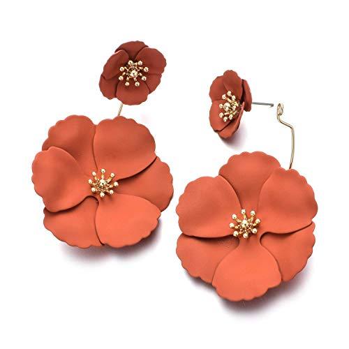 (Metal Matte Dual Flower Petal Tiered Earrings Pierced Garden Party Drop Dangle Earrings Detachable Flower Earring Front and back Daisy Floral Petals Earrings For Women (Coral)