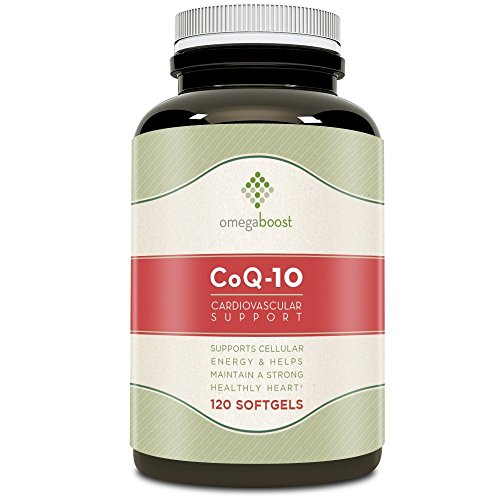Omegaboost Coq-10 Cardiovascular Support (120 Capsules) – Made with Natural Ingredients with No Side Effects Including Gelatin, Glycerin, Purified Water & Soy Bean Oil - Maintain a Strong & Healthy Heart + Helps Relieve Chest Pains – Keeps Your Heartbeat Steady!