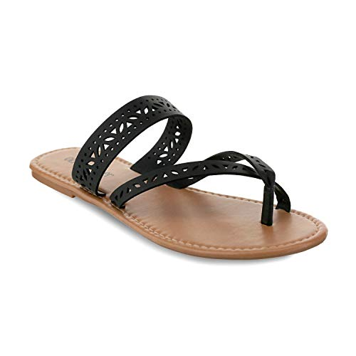 Olivia Miller 'Augustine' Multi Laser Cut Criss Cross Strap Sandals Silver 9