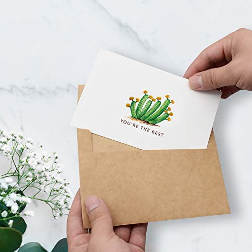 Thank You Cards 36 Bulk Blank Folded Watercolor Cactus Thank You Notes With Self Seal Envelopes - 6 Design, 4 x 6 inch - Perfect for Wedding, Bridal Party, Baby Shower, Graduation,Business,Friends Photo #3