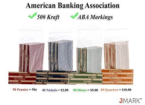 J Mark Neatly-Packed Flat Coin Roll Wrappers (Quarters, Dimes, Nickels, Pennies), ABA Striped Kraft Paper Coin Roll Wrappers, Includes Free J Mark Deposit Slip, (400-Pack USD) by Brand: J Mark (Image #4)