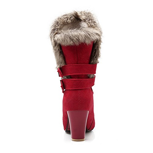 Ornament Boots Heels Buckle Frosted Fur Chunky Red Girls 1TO9 wn0qTfaIq