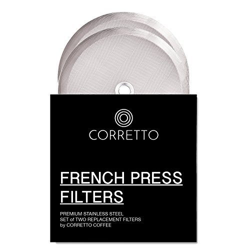 2 Universal French Press Replacement Filters for 8-Cup 34oz by Corretto Coffee - 2 Fine-Weave Stainless Steel Screen for Bodum, Kona and Most 8-Cup French Press - 4 Inches Wide ()
