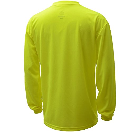 Brite Safety Style 213 Hi Vis Shirt | Long-Sleeve Safety Shirt with Pocket | Non-ANSI | Lightweight Birdseye Moisture Wicking Shirt for Men & Women (Large, Hi Vis Yellow)