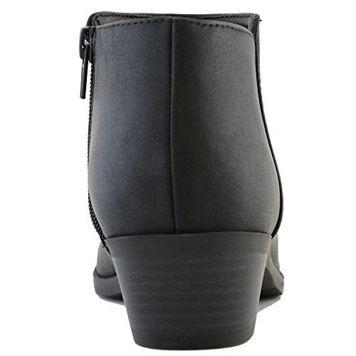 DailyShoes Damen Western Cowboy Booties Komfortable Blockabsatz Spitze Stilvolle Stiefeletten Schwarz Pu