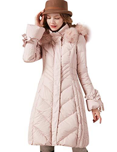 (Artka Women's Detachable Fox Fur Hoodie Long Down Jacket with Pompoms Empire Waist Winter Parka Coat Pink)
