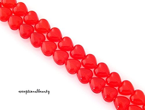 68 Preciosa Bohemian Czech Glass Red 6mm Puffed Heart Shaped Strand Beads (Heart Beads Puffed)
