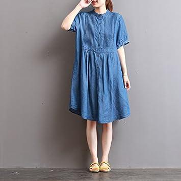 XiaoGao Vestido de Cuello en Casual Jeans Falda Larga,Azul Marino ...