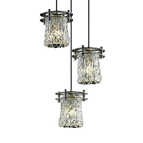 (Justice Design Group Veneto Luce 3-Light Pendant - Brushed Nickel Finish with Clear Textured Venetian Glass Shade )
