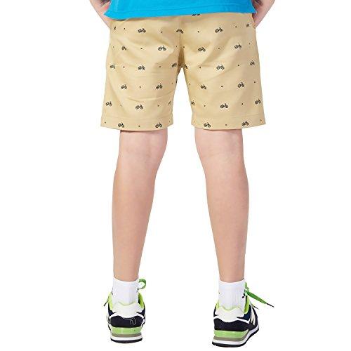 Leo&Lily Boys Elastic Waist Bike Print Casual Chino Shorts (Khaki, 6 Slim)