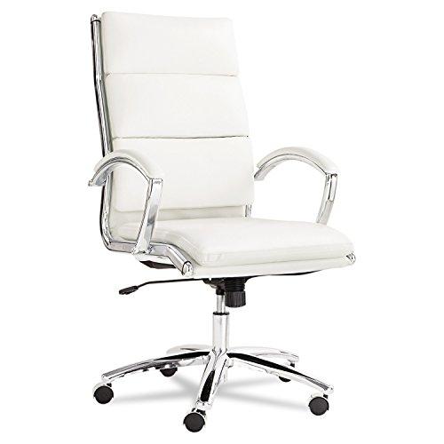 ** Neratoli High-Back Swivel/Tilt Chair, White Faux Leather,