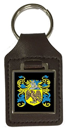 (Fellowes Family Crest Surname Coat Of Arms Brown Leather Keyring Engraved )