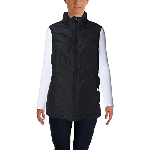 Charter Club Womens Plus Chevron Quilted Outerwear Vest Black 3X