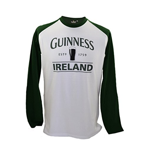 Pint Guinness (Guinness Long Sleeve T-Shirt With Pint & Guinness Ireland, White w/Green Sleeves)