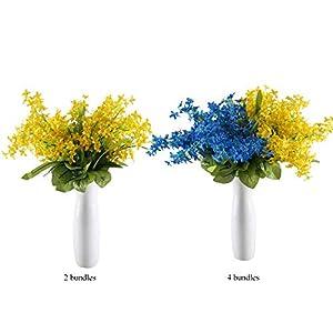 MARJON Flowers2Pcs Artificial Silk Flowers Fake Wisteria Floral Faux Wedding Bouquets Table Centerpieces Arrangements Decor Wedding Home Kitchen Office Windowsill Decorations 4