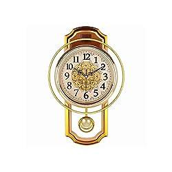 Lufesan European Retro Pendulum Wall Clock Gold Vintage Living Room Simple Bedroom Silent Quartz Clock Modern Clock Living Room Watch,B,46X27Cm