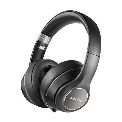 (Over Ear Headphones, Soundcore Vortex Wireless Headset by Anker, 20H Playtime, Deep Bass, Hi-Fi Stereo Earphones for PC/Phones/TV, Soft Memory-Foam Ear Cups, w/Mic and Wired)