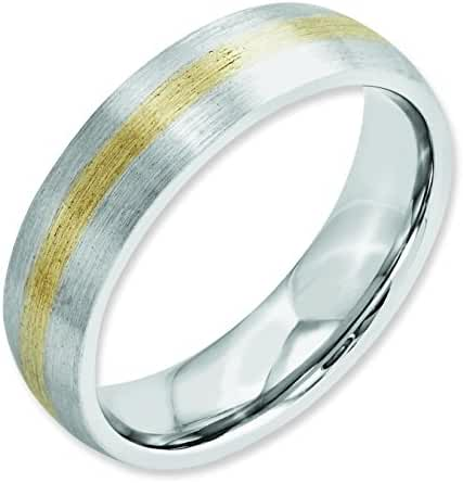 Cobalt Chromium 14k Gold Inlay Satin 6mm Band