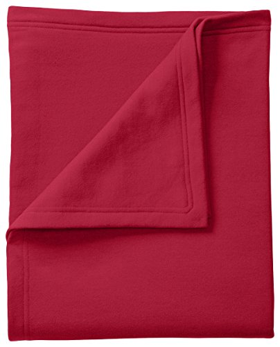 (Port & Company BP78 Core Fleece Sweatshirt Blanket, Red)