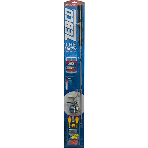 Zebco Micro Trigger Spin Fishing Rod and Reel Combo, Loaded with Line and Includes Terminal Tackle Kit ()