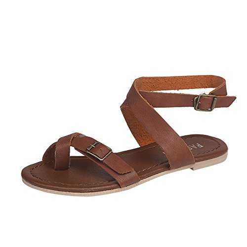 【MOHOLL】 Womens Cross Toe Double Buckle Strap Summer