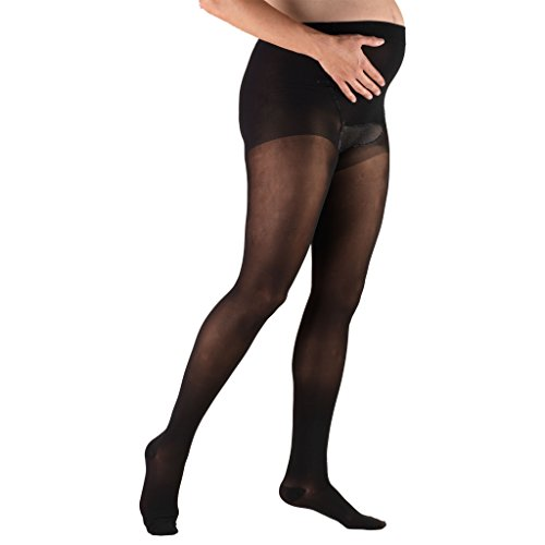 Truform Sheer Maternity Pantyhose, 20-30 mmHg Compression, Tummy Support, 20 Denier, Black, - Support Pantyhose Style