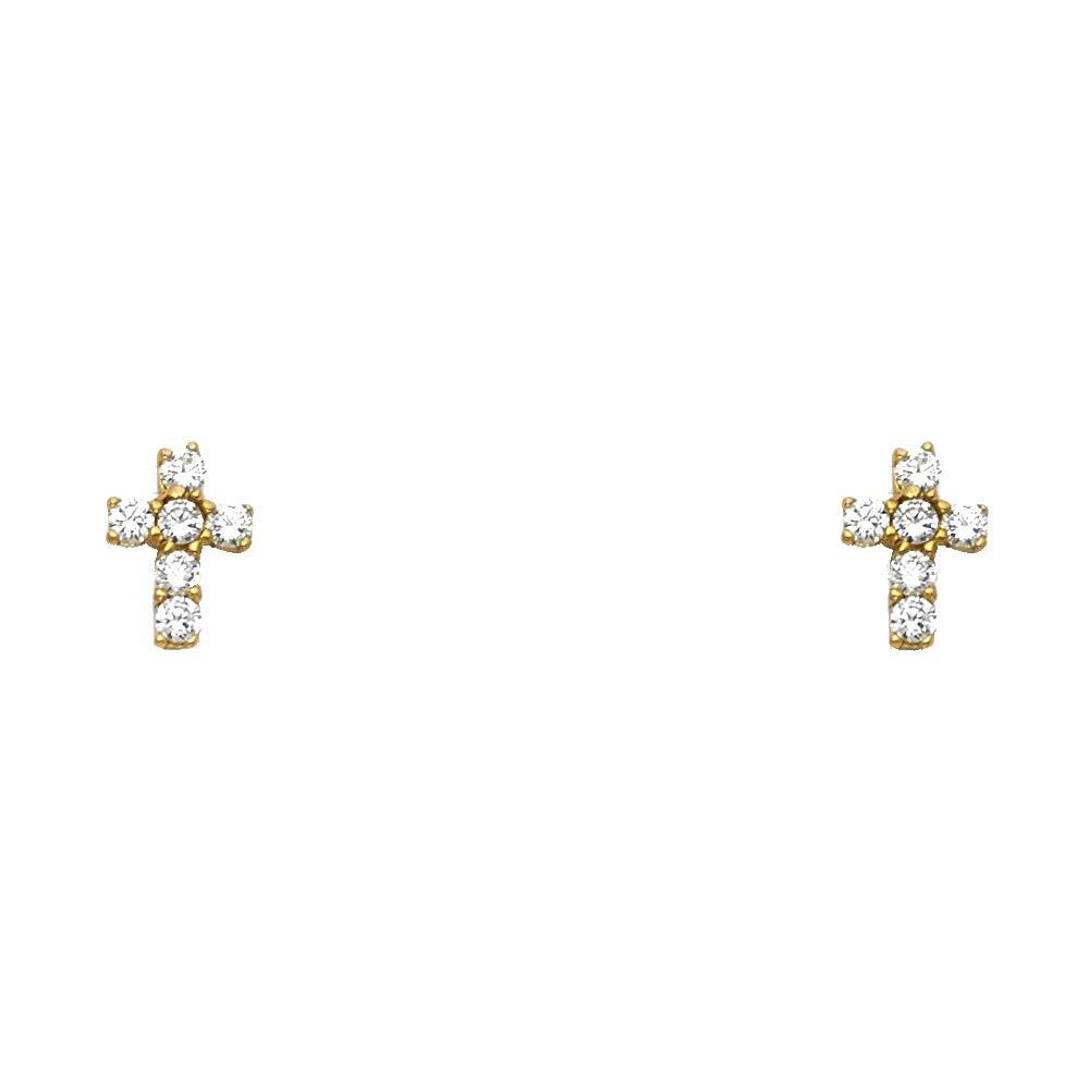 Wellingsale 14K Yellow Gold Polished Cross Stud Earrings With Screw Back