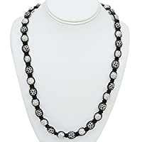 "24""-28"" Black and White Crystal Pave Disco Ball Solid Metal Adjustable Necklace"