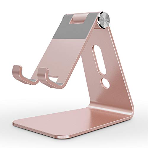 OMOTON Aluminum Desktop Cellphone Stand with Anti-Slip Base and Convenient Charging Port, Fits All Smart Phones, Rose Gold
