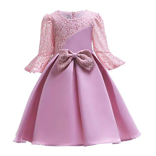 AYOMIS Girl Dress Princess Gowns Party Flower Christmas Long Wedding Dresses(Pink-2884,4-5Y)