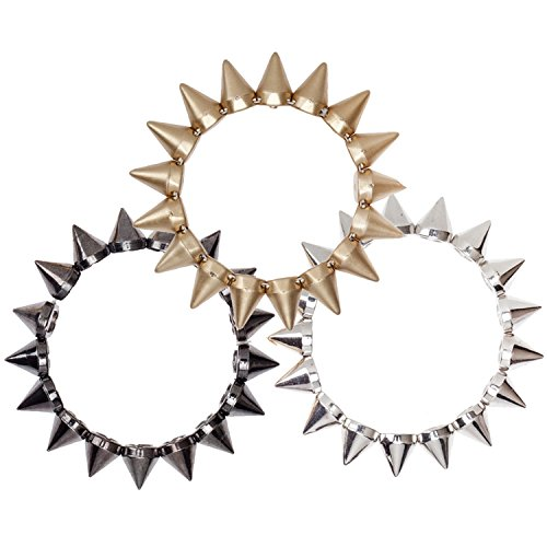 Mens Womens Unisex Chunky Bracelets Bangles Armbands In Punk Rock Rockers Style With Spikes Pyramids Rivets In Golden, Silver and Black Colors ()